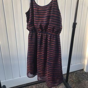 NAVY AND BURN ORANGE DRESS SZ L